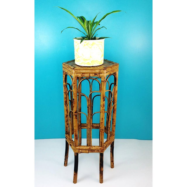 Boho Chic Vintage Burnt Tortoise Hexagon Bamboo Plant Stand For Sale - Image 3 of 7