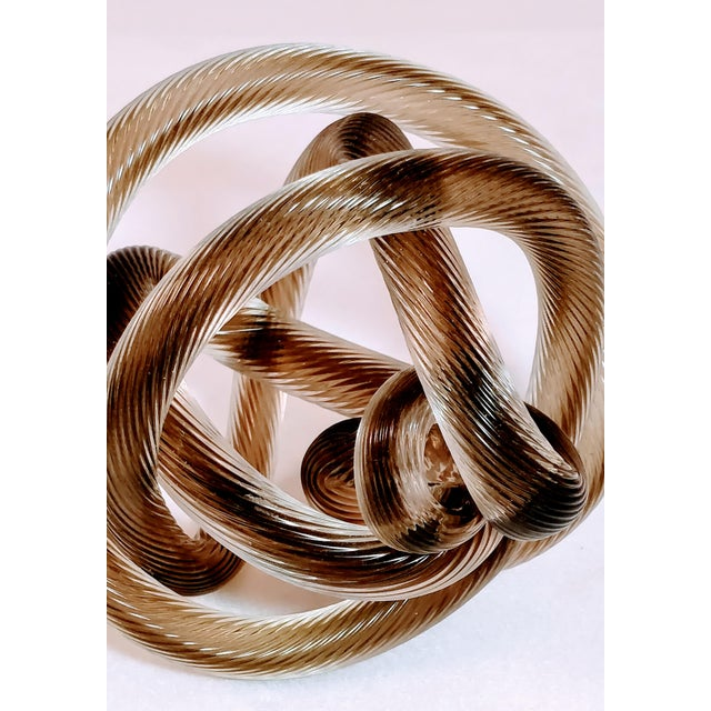 1950s Vintage Zanetti Murano Style Glass Knot Clear Rope Twist Sculpture For Sale - Image 6 of 7