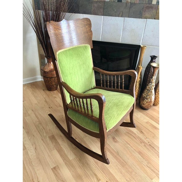 Late 19th Century Antique Oak Wood Mortise and Tenon Upholstered Rocking Chair For Sale In Kansas City - Image 6 of 13