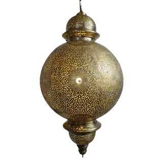 Large Moroccan Manda Brass Chandelier For Sale