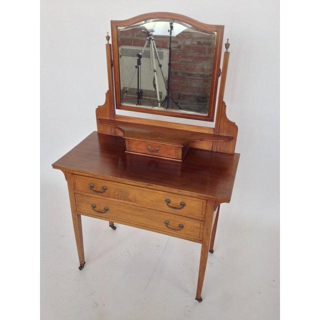 English Inlaid Vanity & Beveled Mirror - Image 2 of 6
