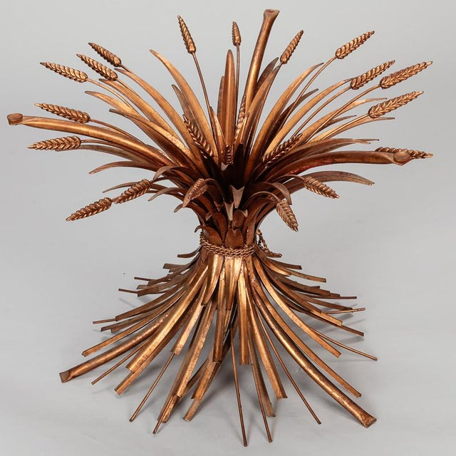 Mid Century Gilded Metal Wheat Sheaf Table For Sale - Image 4 of 9