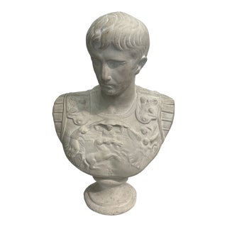 Stone Bust of Roman Warrior For Sale