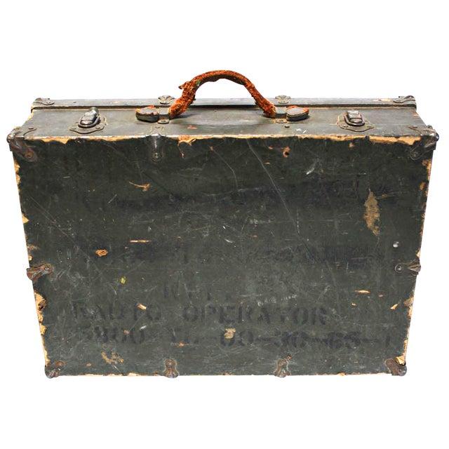 Vintage Army Green Radio Box Leather Handle - Image 1 of 7