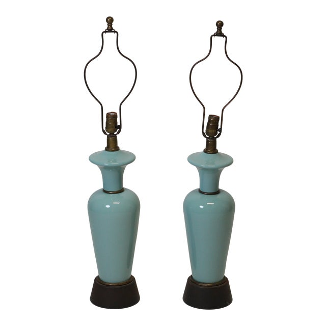 Pair of Robins Egg Blue Lamps For Sale
