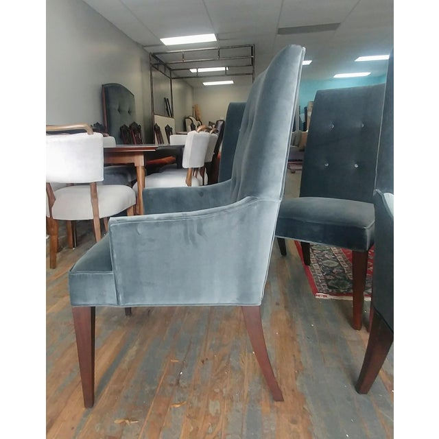 2010s Mid-Century Modern Henredon Furniture Barbara Barry Slate Grey Velvet Dining Chairs - Set of 6 For Sale - Image 5 of 12