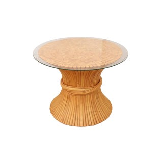 1960s Vintage McGuire Style Sheaf of Wheat Side Table For Sale