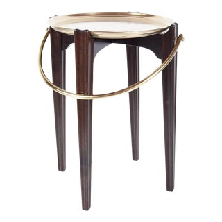 Mahogany and Brass Tray Table in the Manner of Adolf Loos For Sale