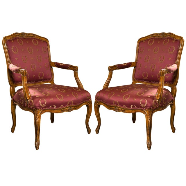 French Louis XV Style Walnut Fauteuils - A Pair For Sale