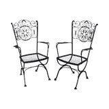 Image of Woodard Andalusian Black Wrought Iron Pair Garden Patio Armchairs For Sale