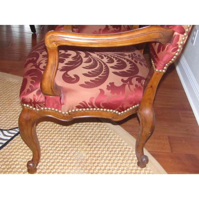 Century Furniture Host & Hostess Damask Silk Upholstery Chairs - a Pair For Sale In West Palm - Image 6 of 8