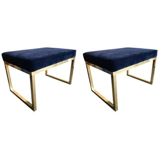 Contemporary Pair of Brass Poufs Stools, Italy For Sale