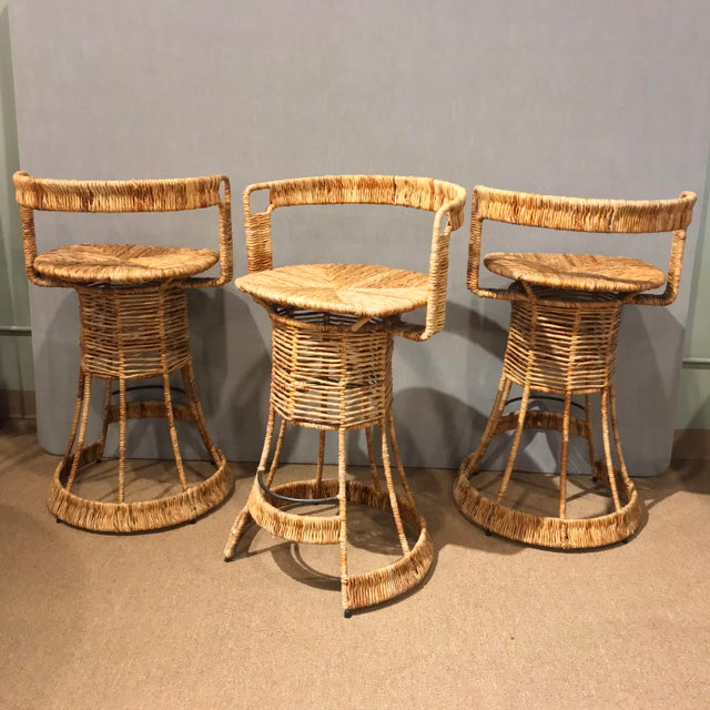 Caning Nautical Cane Woven Bar Stools - Set of 3 For Sale - Image 7 of 11