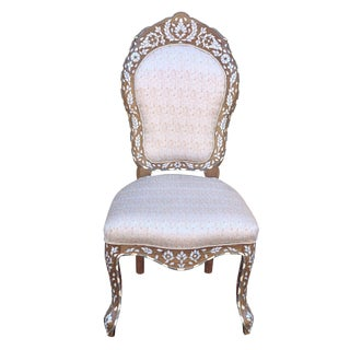 Moroccan Style Mother of Pearl Inlaid Chair For Sale