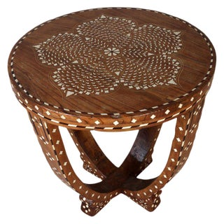 Teak Side or Center Table With Bone Inlay, India For Sale
