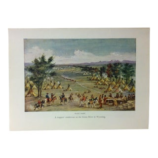 "Americana Color Print on Paper, ""A Trappers Rendezvous on the Green River in Wyoming"" by w.h. Jackson, Circa 1940 For Sale"