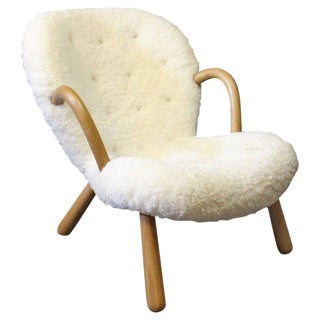 "Mid-Century Modern Shearling Covered ""Clam"" Chair"