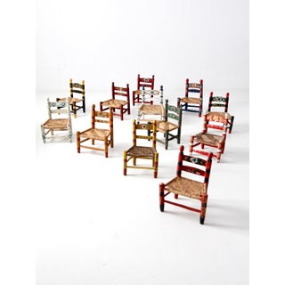 Vintage Mexican Folk Art Children's Chair Collection - Set of 12 Preview