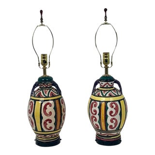 Italian Hand Painted Ceramic Lamps - a Pair For Sale