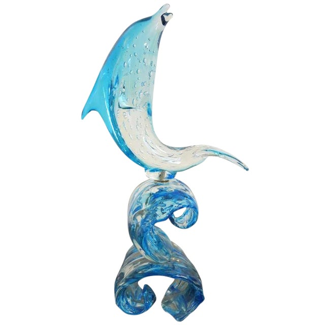 Dolphin on Wave Murano Glass Sculpture by Sergio Costantini For Sale