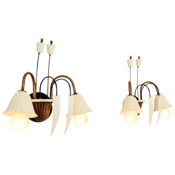 1950s Flower-Shaped Italian Wall Sconces - a Pair For Sale - Image 5 of 8