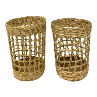 Vintage Rattan & Glass Holders - A Pair