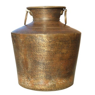 Large Antique Brass Planter For Sale