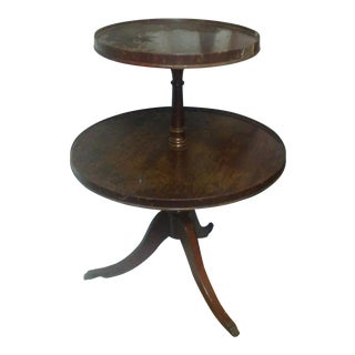 1960s Hollywood Regency Round 2 Tier Side Table For Sale
