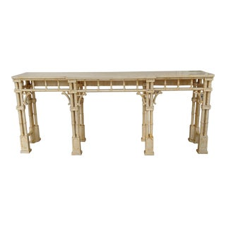 Hollywood Regency Faux Bamboo Console Table For Sale