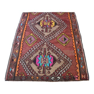"Turkish Tribal Rug Fragment. Natural Color Kilim. Boho Style Area Rug - 4'10"" X 5'12"" For Sale"