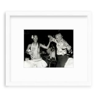 Mid-Century Modern Custom Framed Black & White Photograph of Luau Girl & Dancing Man Print Preview