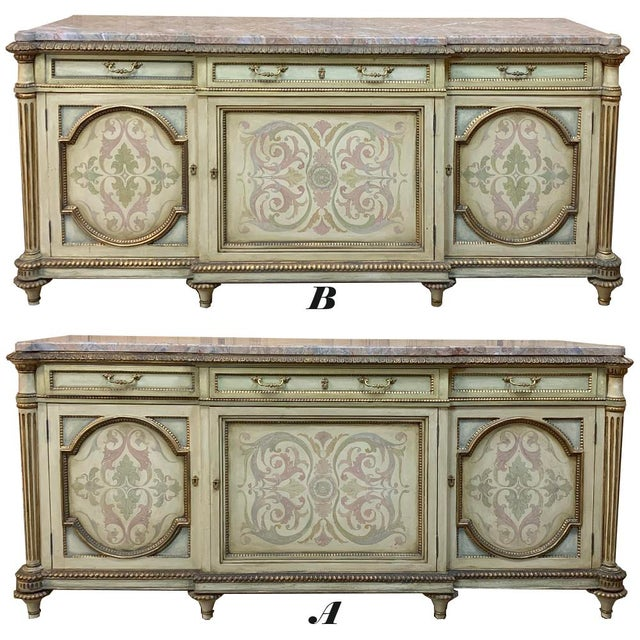Antique Italian Marble Top Painted Buffet is an exquisite example of master Italian artisanry at work! The neoclassical...
