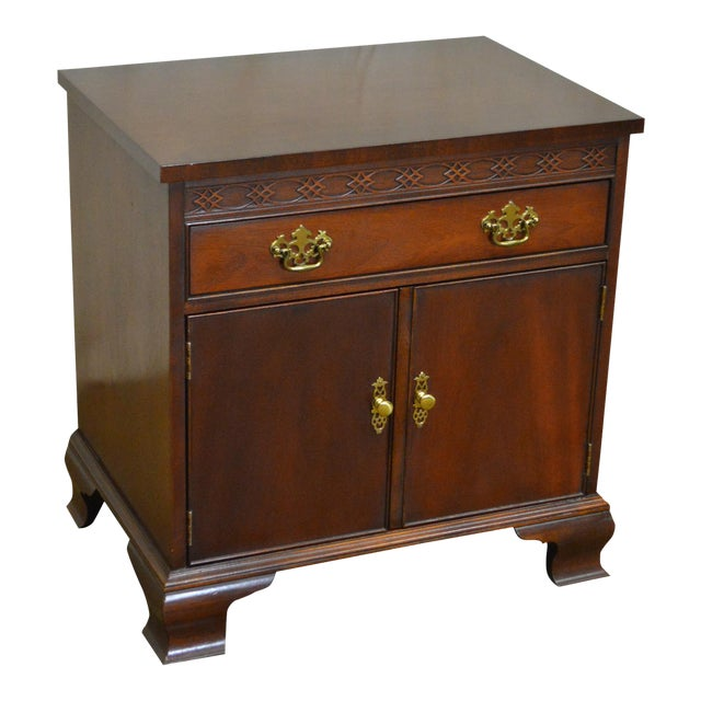 Baker Chippendale Style Mahogany Nightstand - Image 1 of 11
