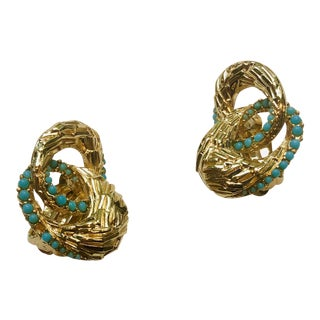 Ciner Texturized Serpentine Turquoise Earrings For Sale