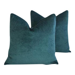 Aqua Marine Green/Turquoise Velvet Feather & Down Pillows - a Pair For Sale
