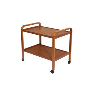 Danish Teak Rolling Cart Made in Denmark For Sale