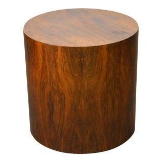 Milo Baughman Mid Century Modern Round Rosewood Cylinder Drum Side Table