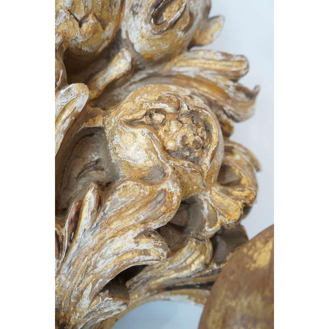Italian Hand Carved Gilt Wood Sconces - a Pair For Sale In Los Angeles - Image 6 of 10