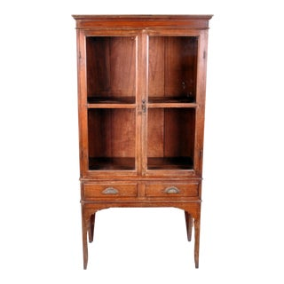 Teakwood Display Cabinet with Two Drawers For Sale