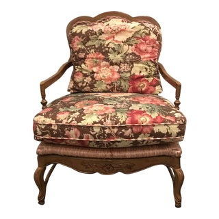 Traditional Wesley Hall Floral Rush Seating Chair For Sale
