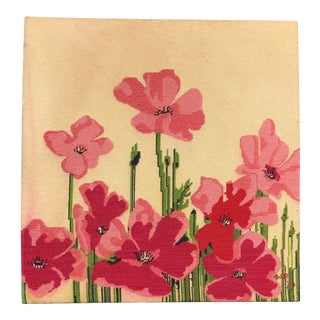 Late 20th Century Poppyseed Pink & Green Flowers Needlepoint Textile Art For Sale