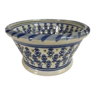 Blue & White Hand Painted Glazed Pierced Ceramic Bowl For Sale