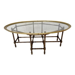 Vintage Brass Tray Top Faux Bamboo Coffee Table For Sale
