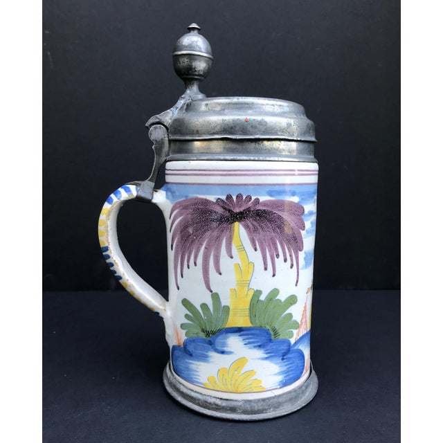 18th Century German Faience Polychrome Pewter-Mounted Tankard in Columnar Form For Sale - Image 11 of 11