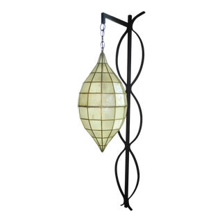 Modern Capiz Shell and Wrough Iron Wall Light Sconce c.1960s For Sale