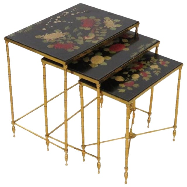 Custom Brass Bamboo Form Chinoiserie Nesting Tables For Sale