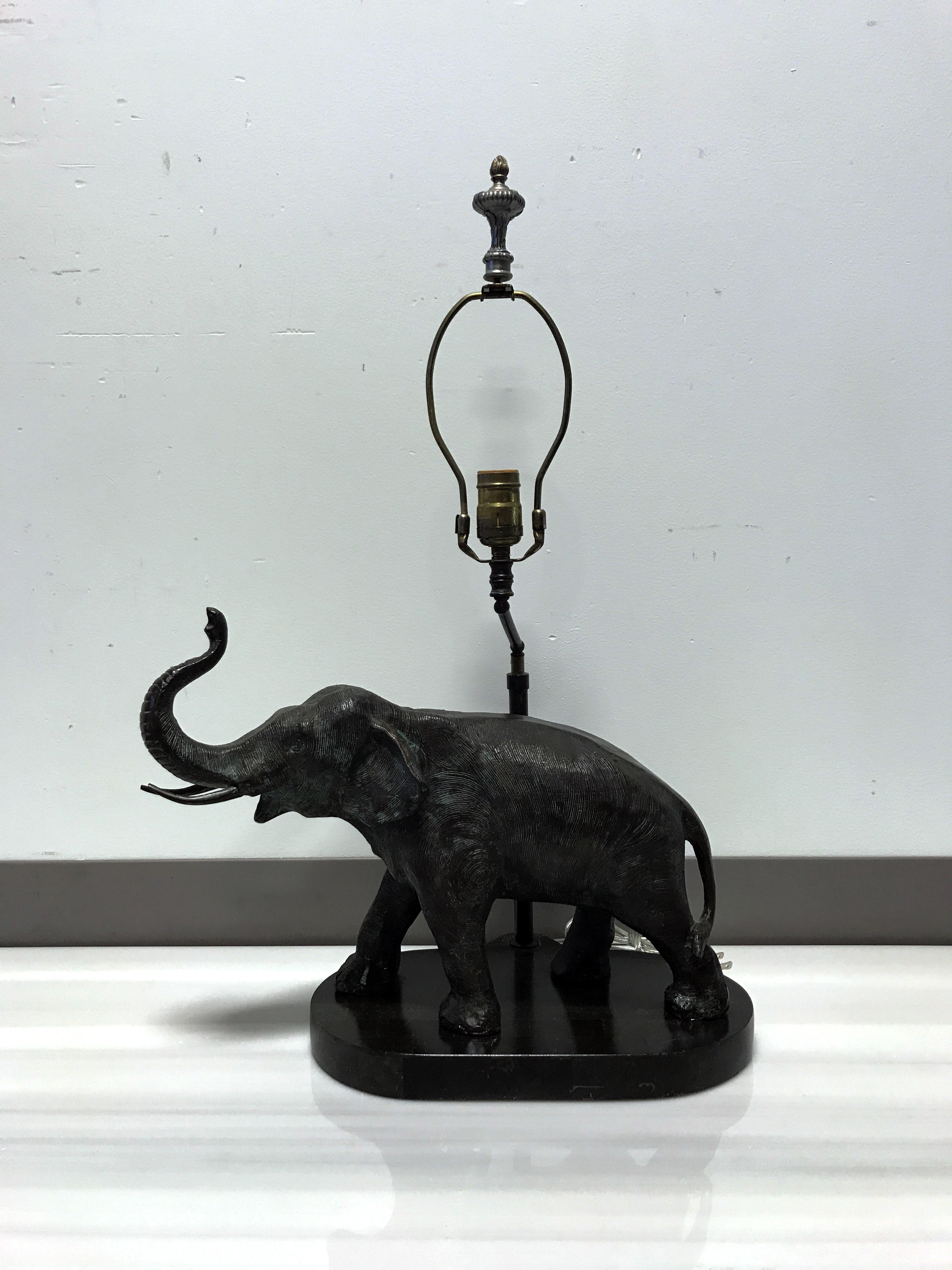 MAITLAND SMITH Bronze U0026 Marble Elephant Lamp   Image 6 Of 11