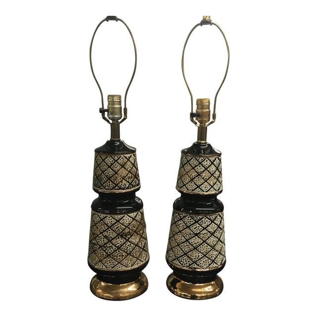 Vintage 50's Ceramic Lamps -Pair For Sale