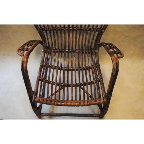Wood Italian Rattan Bamboo Arm Chair For Sale - Image 7 of 8