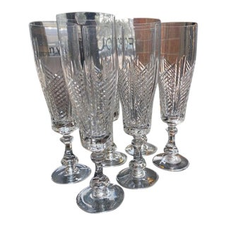 Cut Crystal Champagne Flutes - Set of 6 For Sale